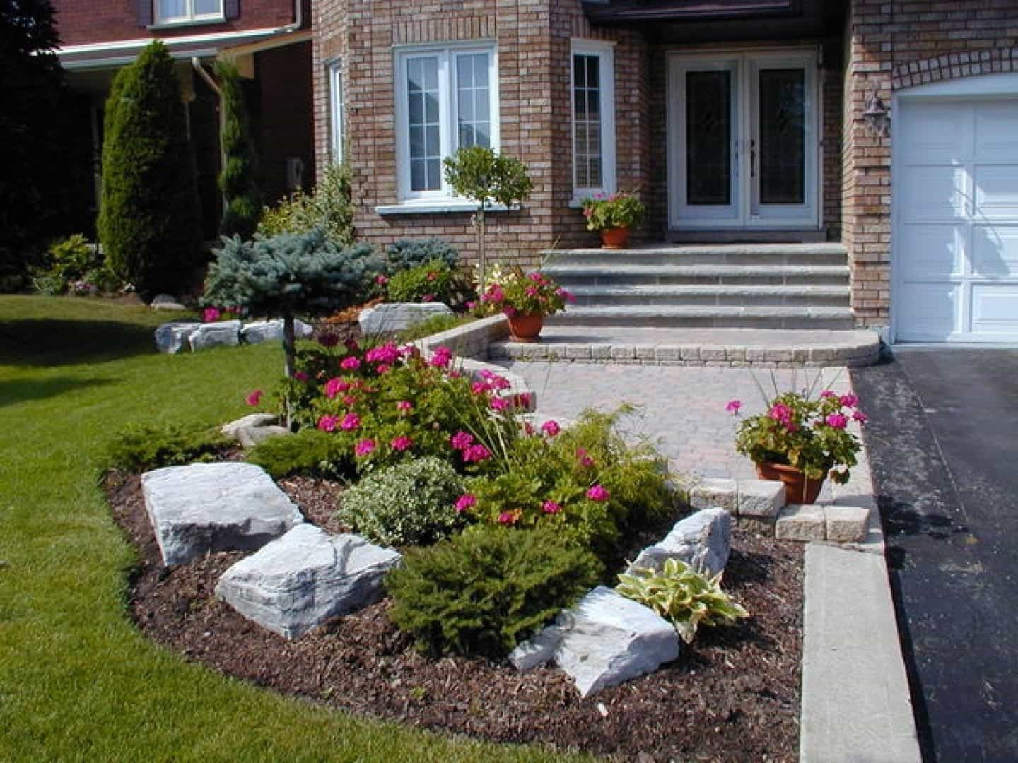 Landscape Designs For Small Yards  Small Front Yard With Boulders And Shrubs Small Front