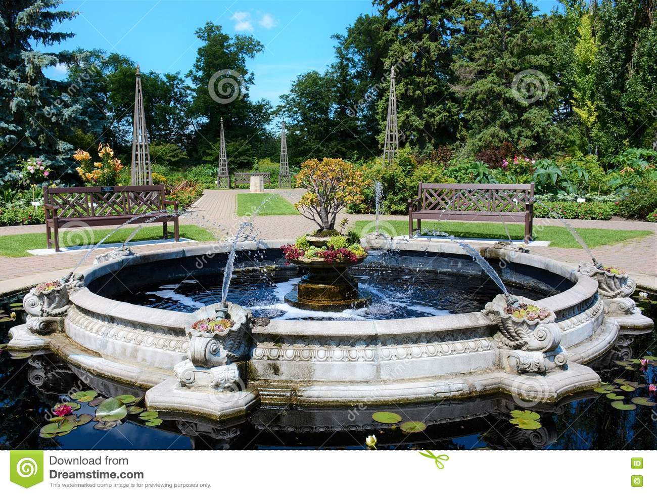 Landscape Fountain Public  Pond With Fountain In Public Park Stock Image of