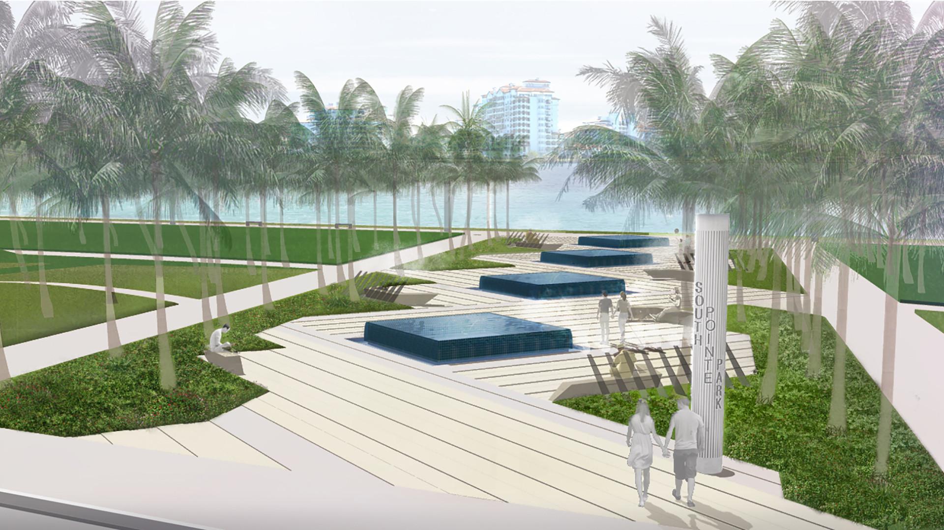 Landscape Fountain Public  South Pointe Park Fountain Plaza Remediation Edsa