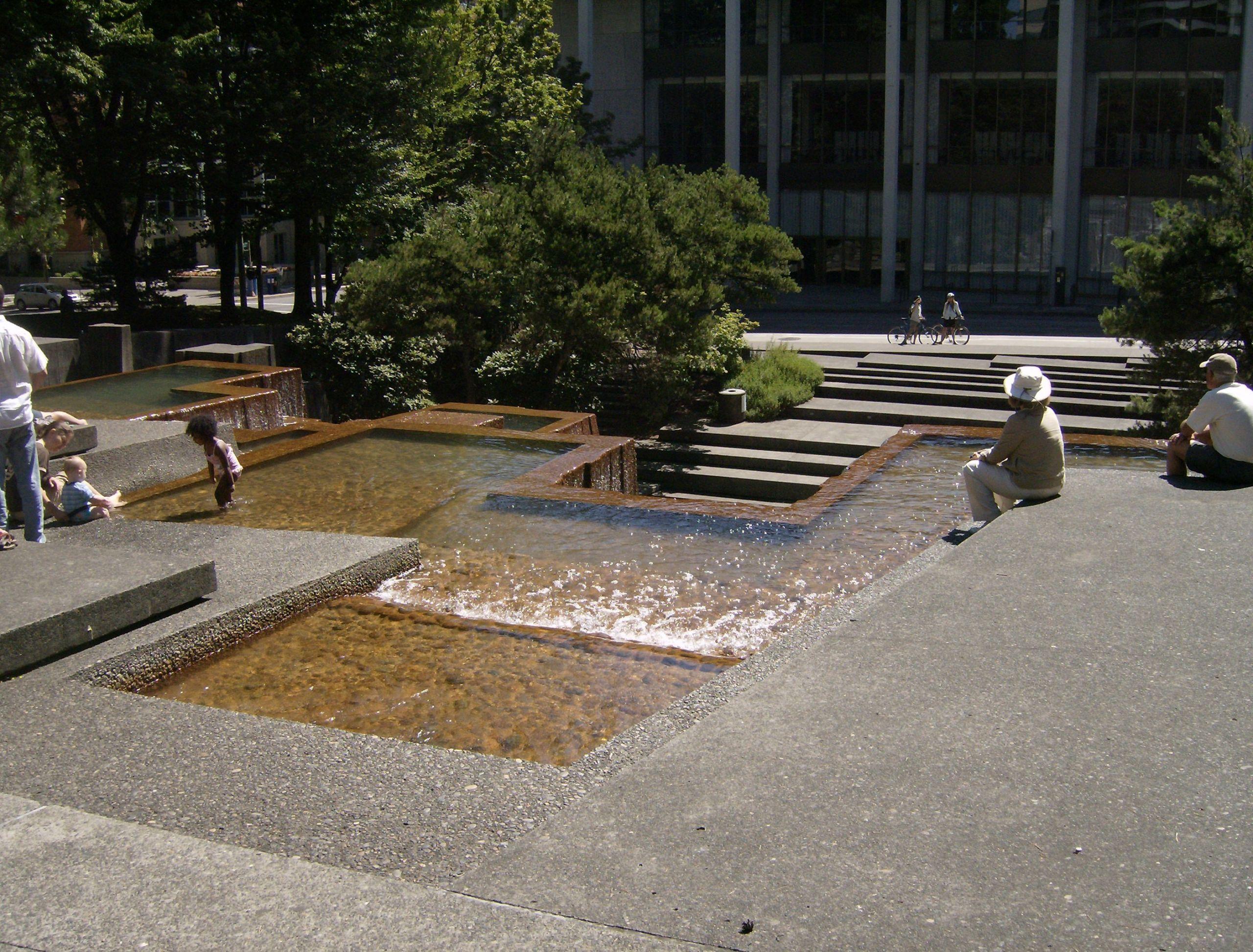 Landscape Fountain Public  Urban And Modern Waterfalls Iras Fountain Portland
