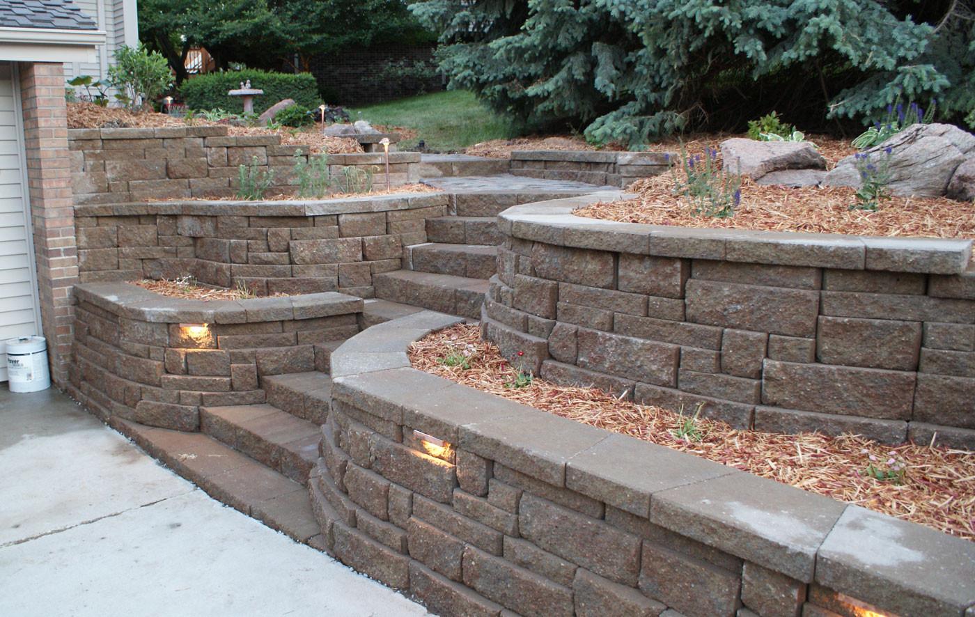 Landscape Retaining Wall Design  Retaining Walls Portfolio of Omaha Landscape Design