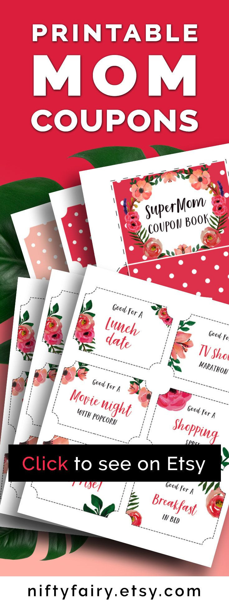 Last Minute Birthday Gifts For Mom  Mother s Day Coupon Book for Mom Last Minute Gift for Mum