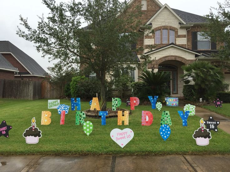"""Lawn Decorations For Birthday  """"Happy Birthday"""" lawn letters with other yard decor signs"""