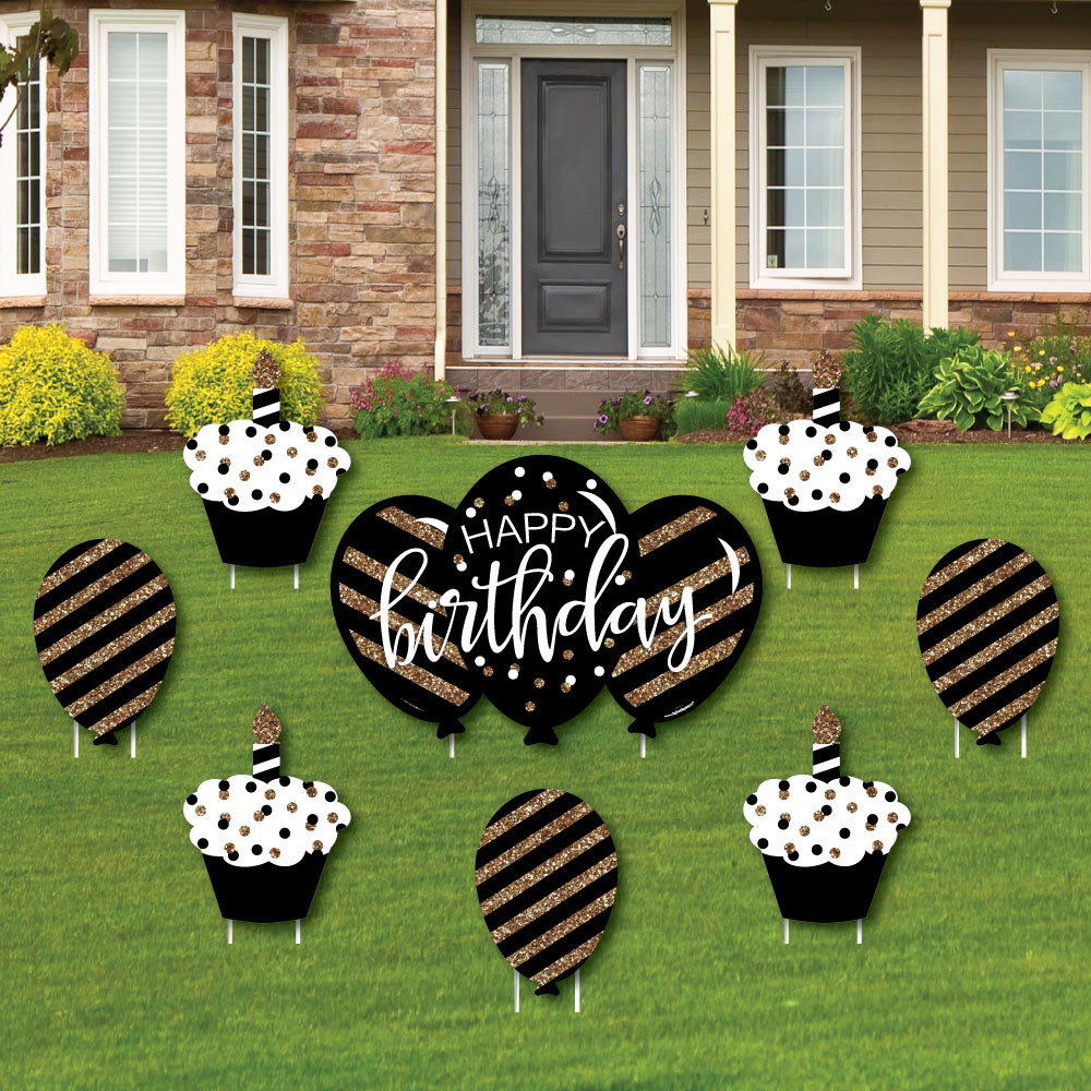 Lawn Decorations For Birthday  Adult Happy Birthday Gold Cupcake & Balloon Yard Sign
