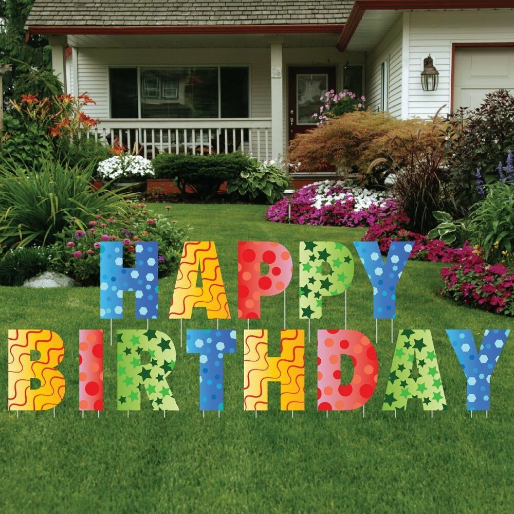 Lawn Decorations For Birthday  Happy Birthday Giant Art Yard Letters Surprise Decorations