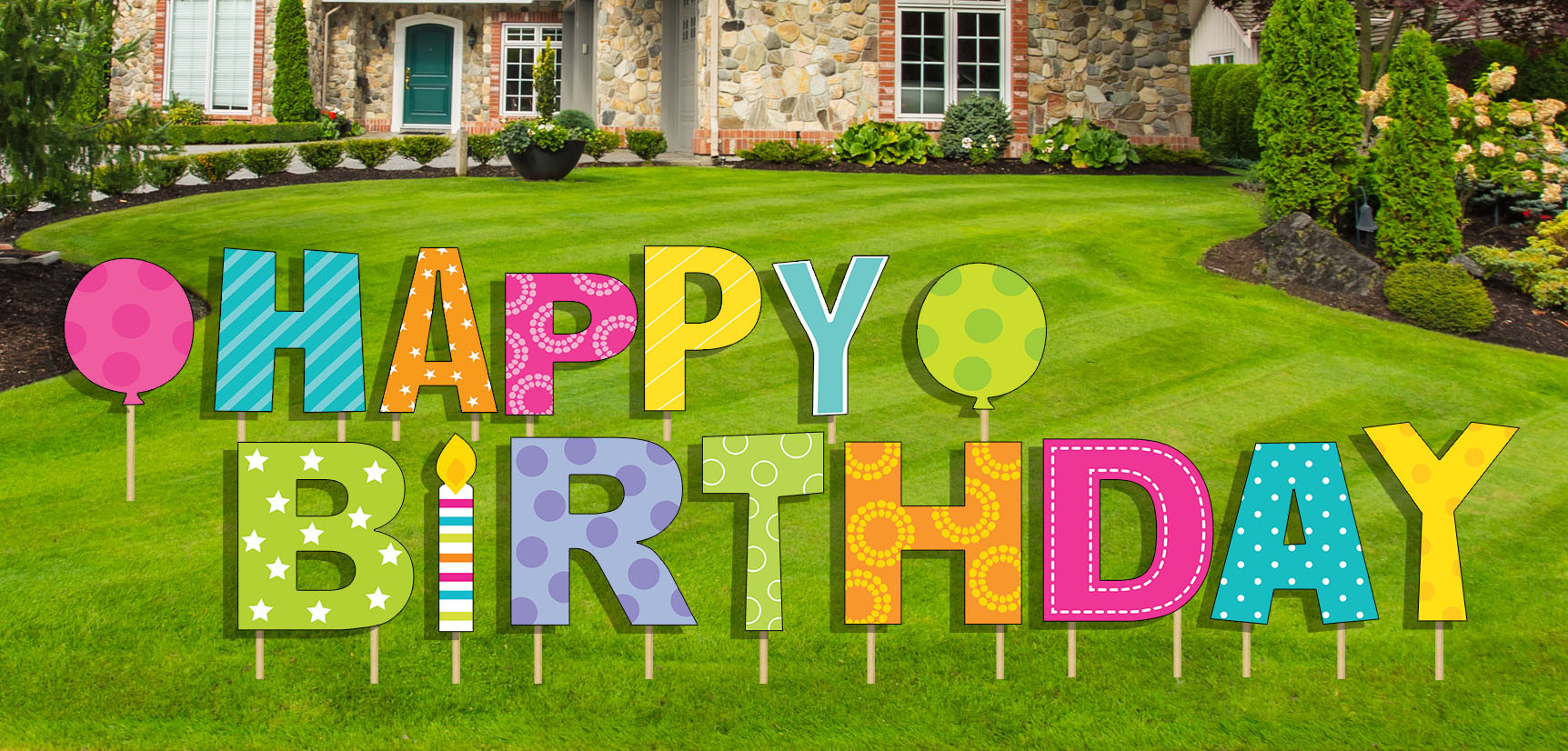Lawn Decorations For Birthday  Happy Birthday Yard Sign 15 pcs Stakes Included Outdoor