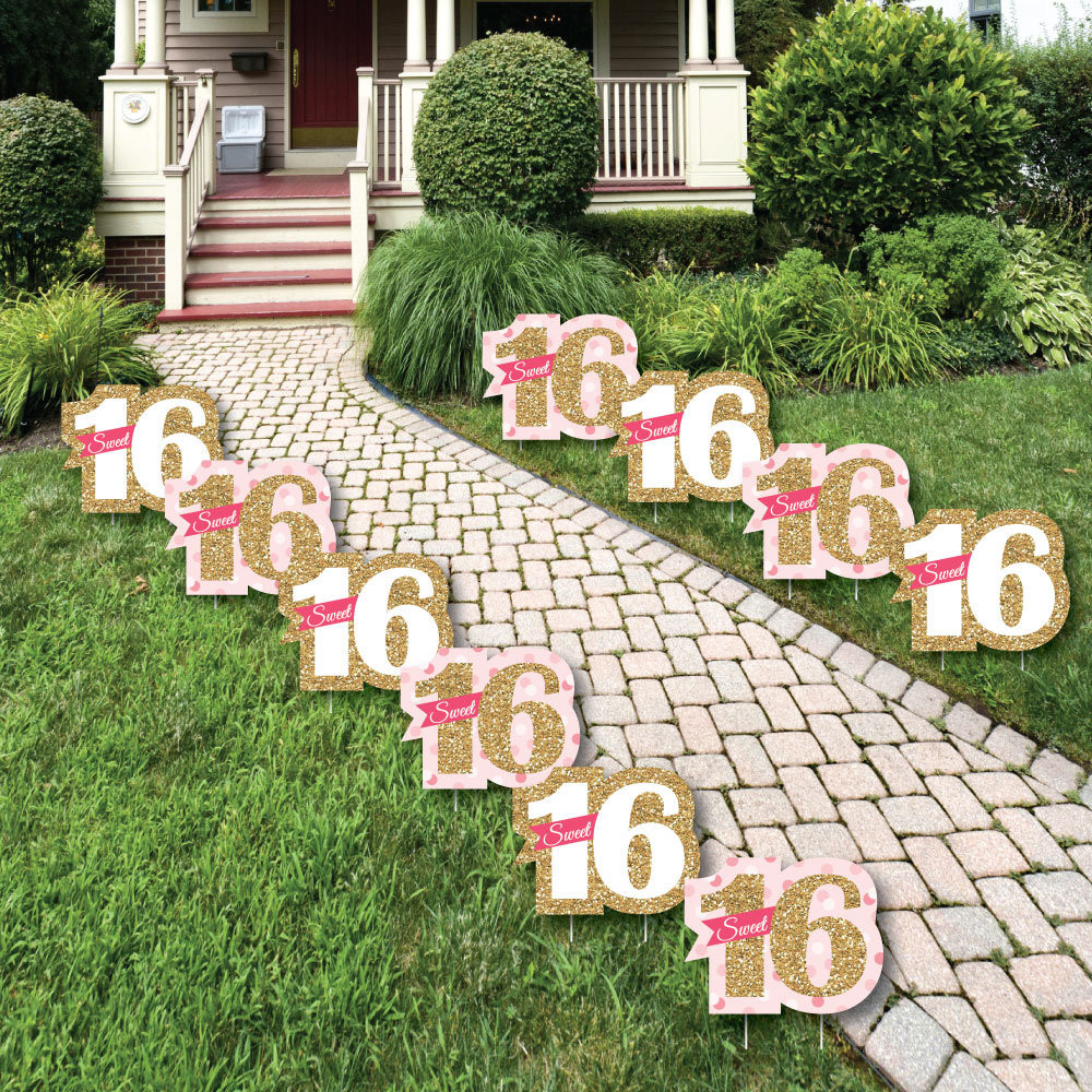 Lawn Decorations For Birthday  Sweet 16 Lawn Decorations Outdoor Birthday Party Yard