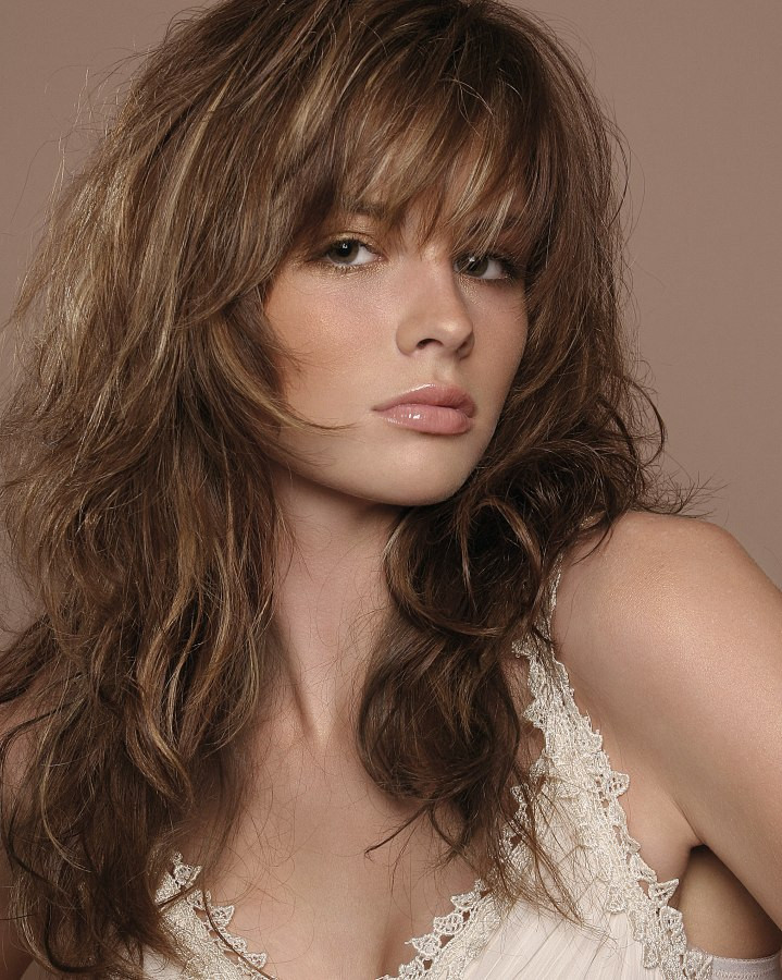Layered Haircuts Long Hair  Long layered haircut with highlights and styled with ruffing