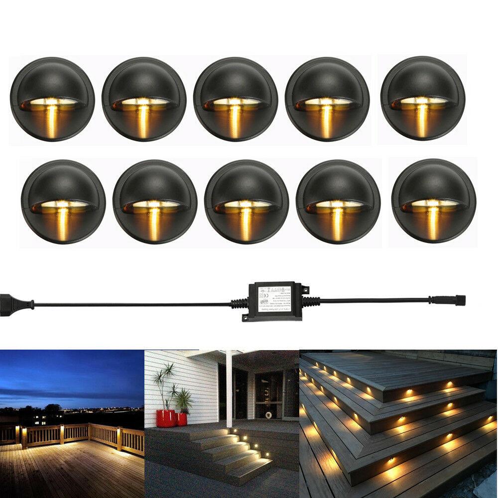 Led Landscape Lighting Kit  10Pcs LED Deck Step Stair Light Outdoor Landscape Yard