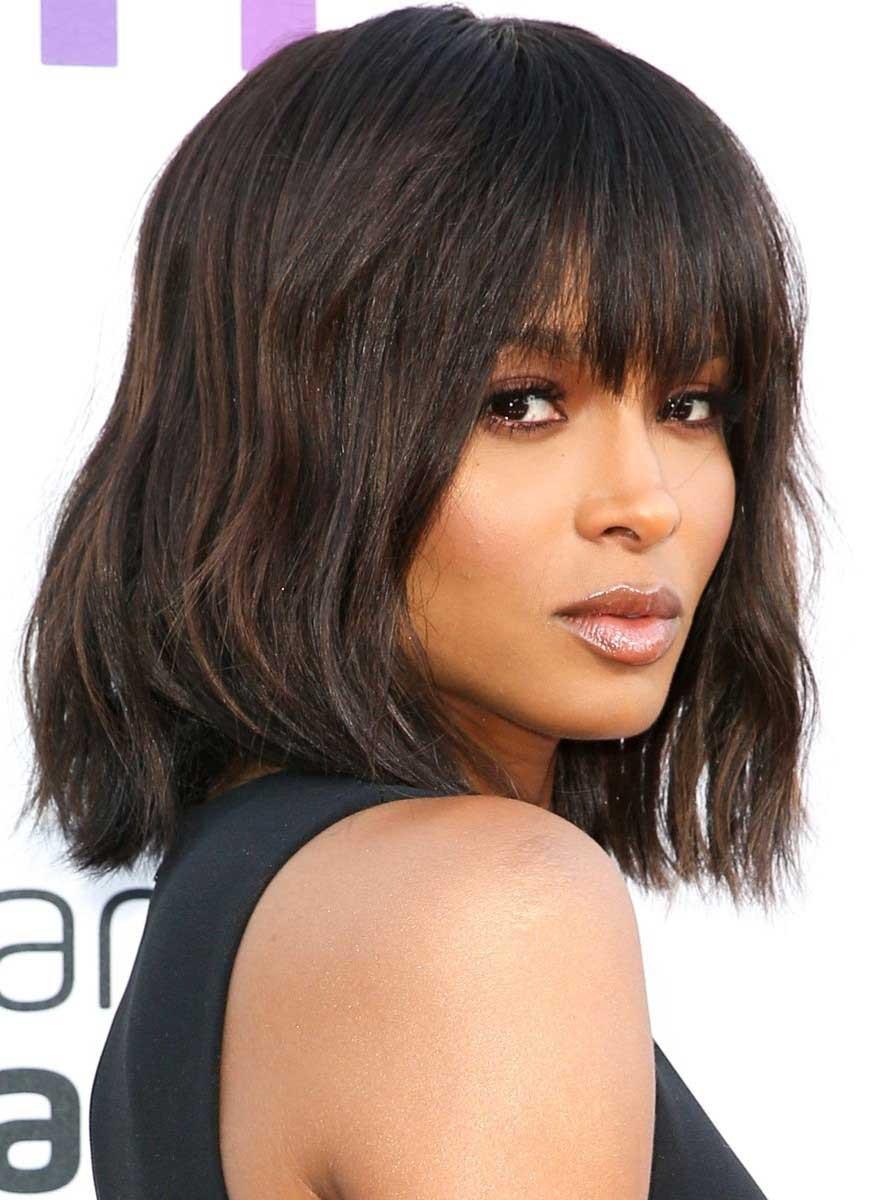 Long Bob Hairstyles For Black Females  long bangs inverted bob hairstyles for black women