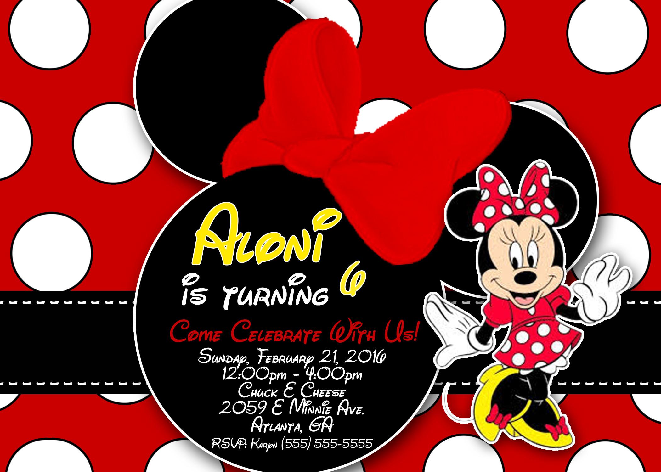 Minnie Birthday Invitations  Minnie Mouse Birthday Invitations