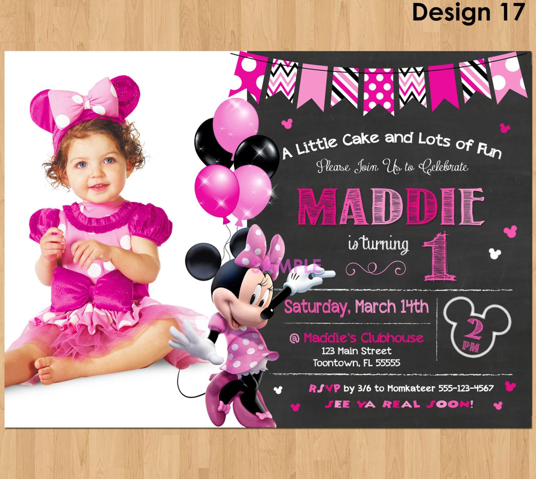 Minnie Birthday Invitations  Minnie Mouse Invitation Minnie Mouse 1st Birthday First Bday