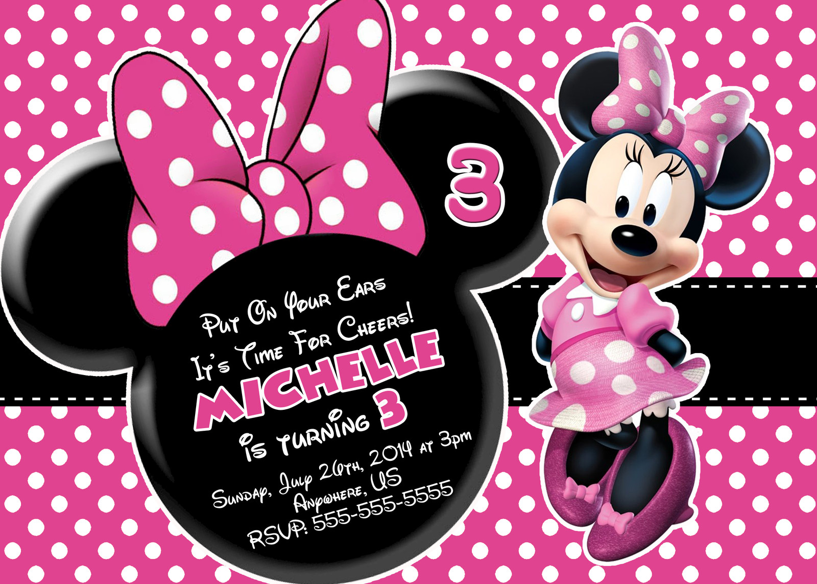 Minnie Birthday Invitations  Minnie Mouse Printable Birthday Invitations – FREE