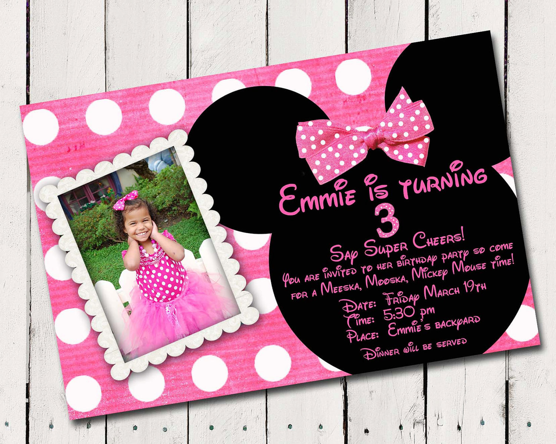 Minnie Birthday Invitations  Pink Minnie Mouse Custom photo Birthday by