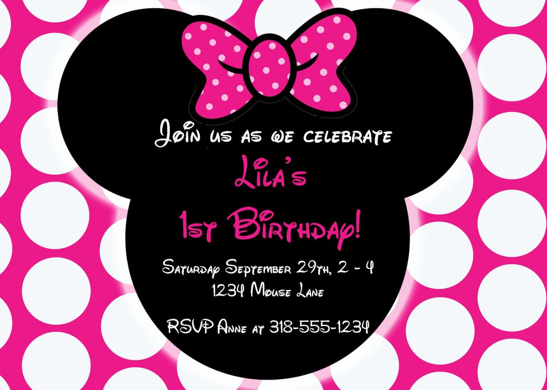 Minnie Birthday Invitations  Editable Free Minnie Mouse Invitation