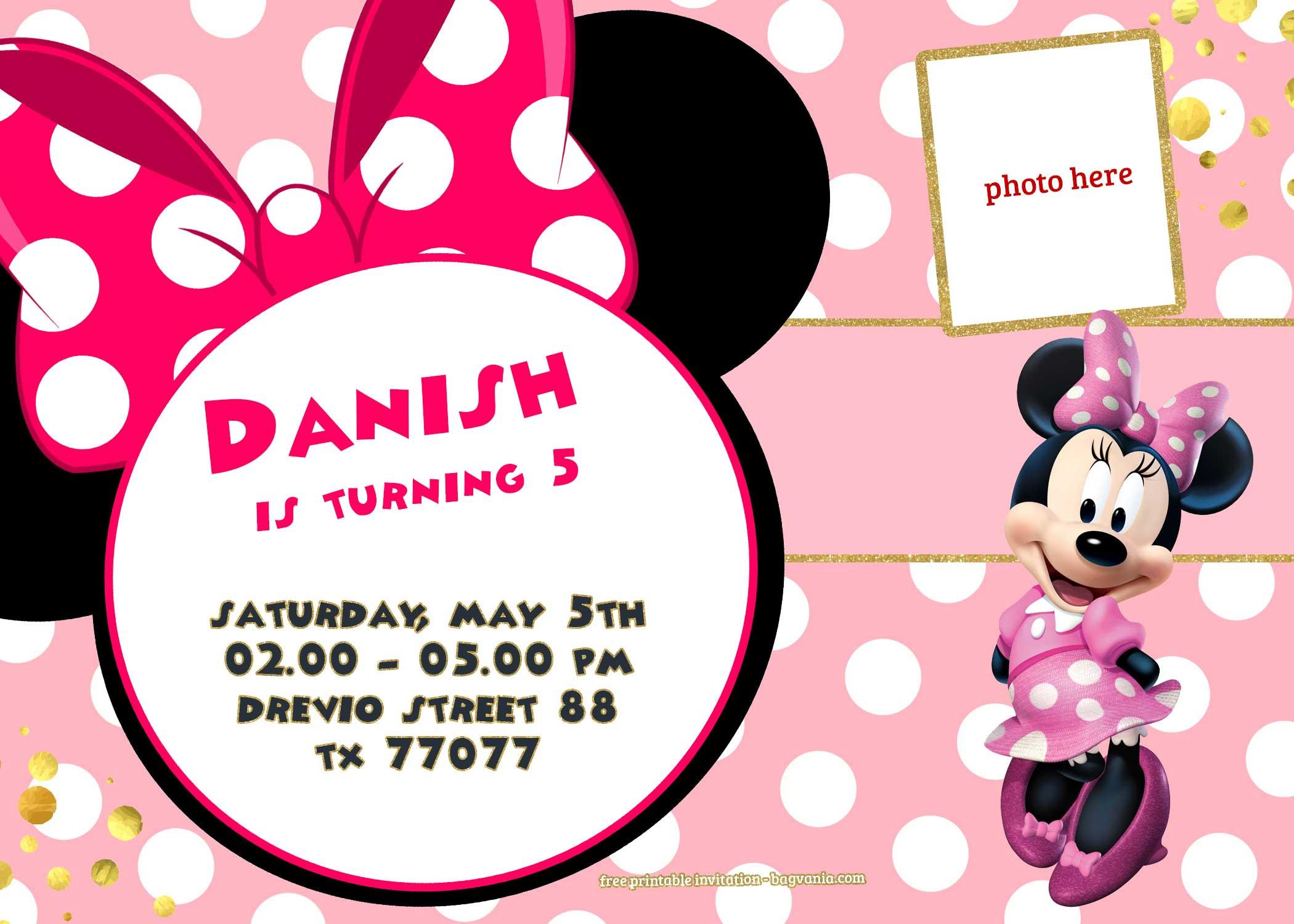 Minnie Birthday Invitations  FREE Minnie Mouse Invitation Template
