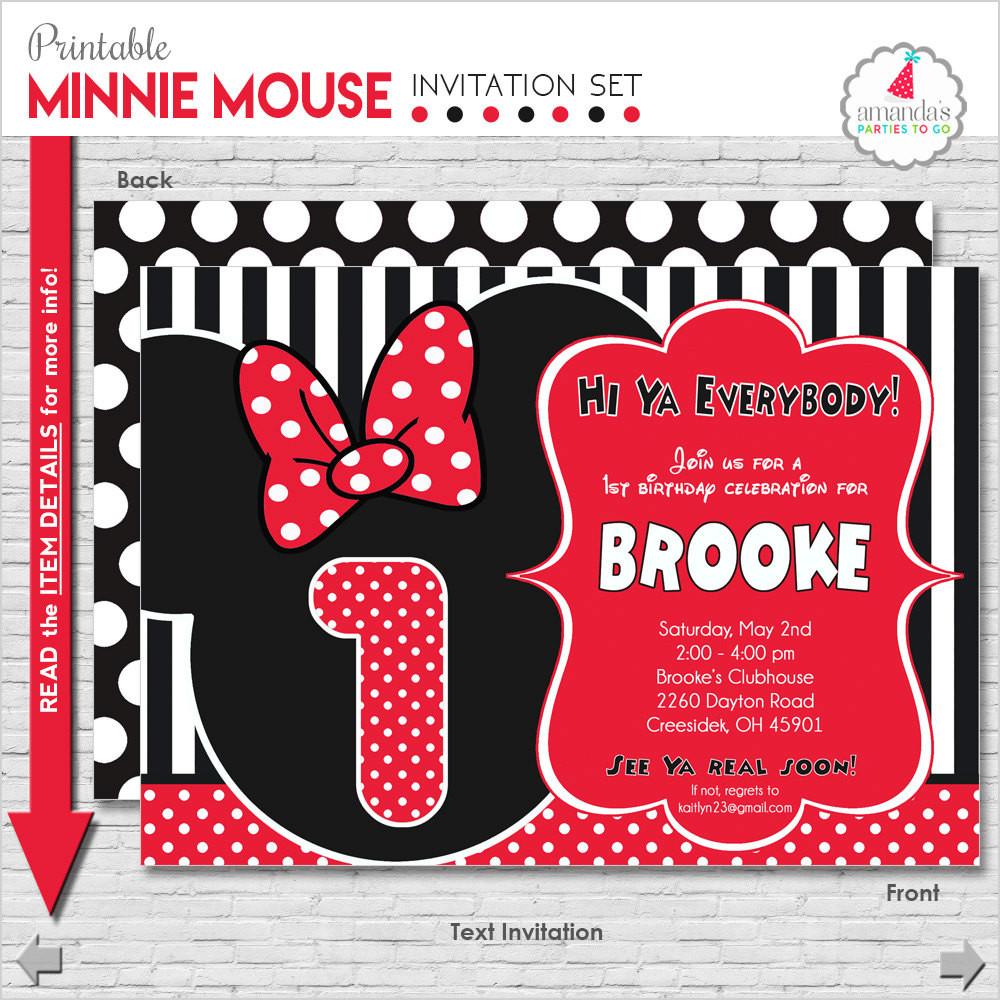 Minnie Birthday Invitations  Minnie Mouse Invitation Minnie Mouse Birthday Invitation