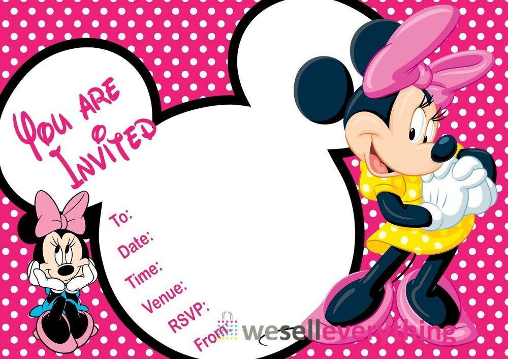 "Minnie Birthday Invitations  20 MINNIE MOUSE PARTY INVITATIONS KIDS CHILDREN""S INVITES"