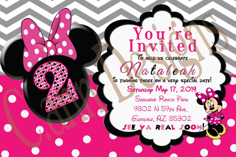 Minnie Birthday Invitations  Minnie Mouse 2nd Birthday invitations