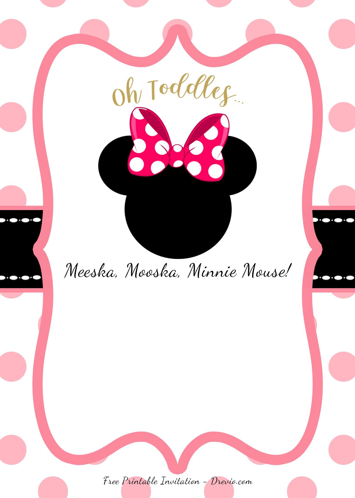 Minnie Birthday Invitations  FREE Minnie Mouse Head Invitation Templates – FREE
