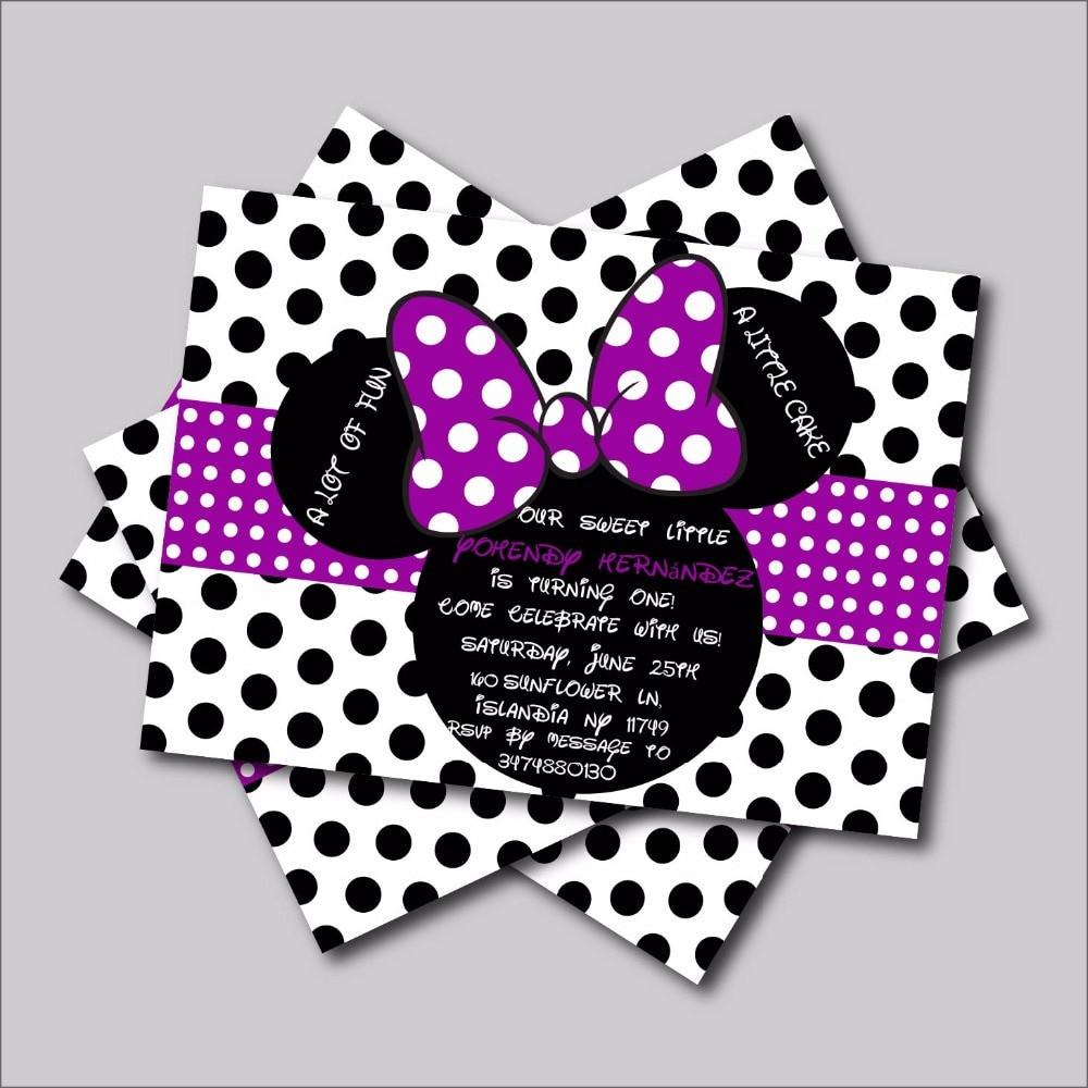 Minnie Birthday Invitations  20 pcs lot Custom purple Minnie Mouse Birthday invitations