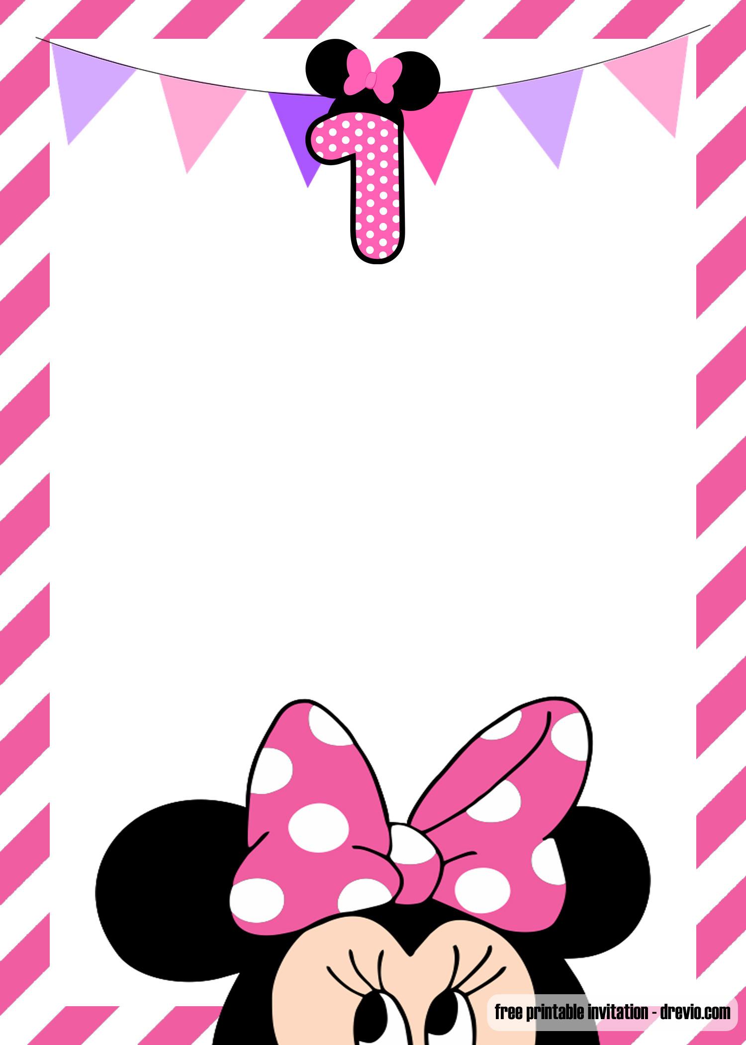Minnie Birthday Invitations  FREE Minnie Mouse 1st Birthday Invitation Templates – FREE