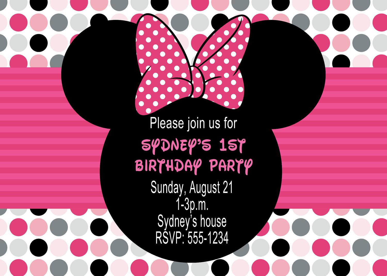 Minnie Birthday Invitations  Minnie Mouse Birthday Party Invitations