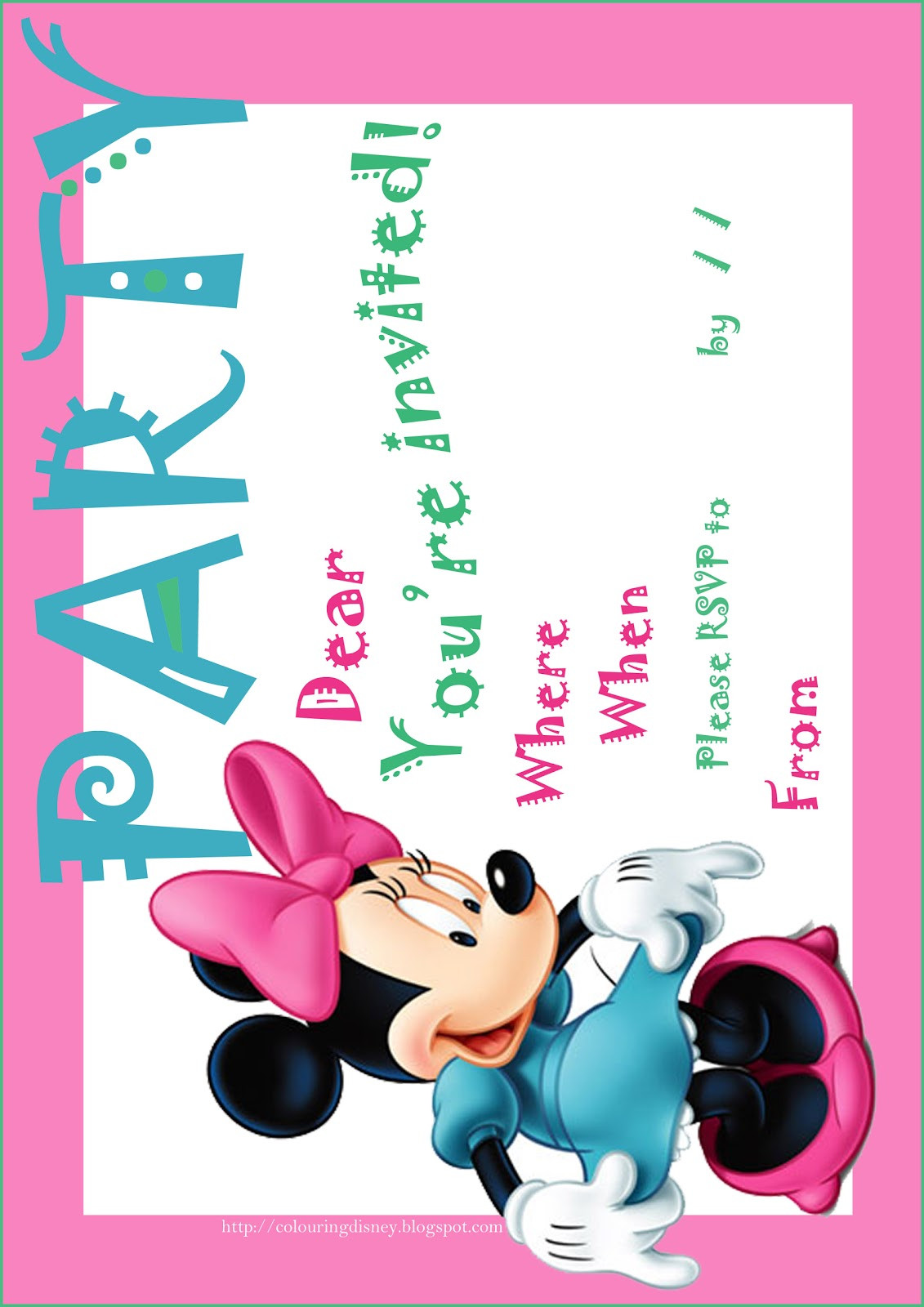 Minnie Birthday Invitations  DISNEY COLORING PAGES