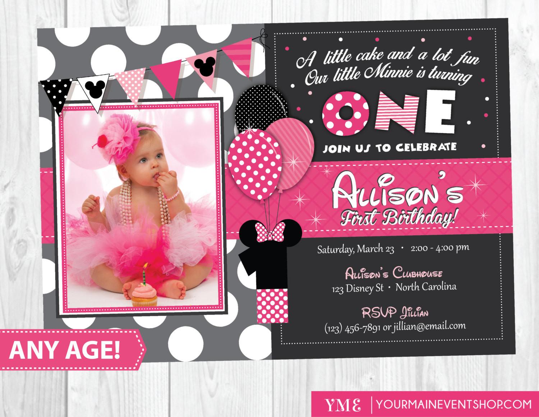 Minnie Birthday Invitations  Minnie Mouse Birthday Invitation Minnie Mouse Inspired