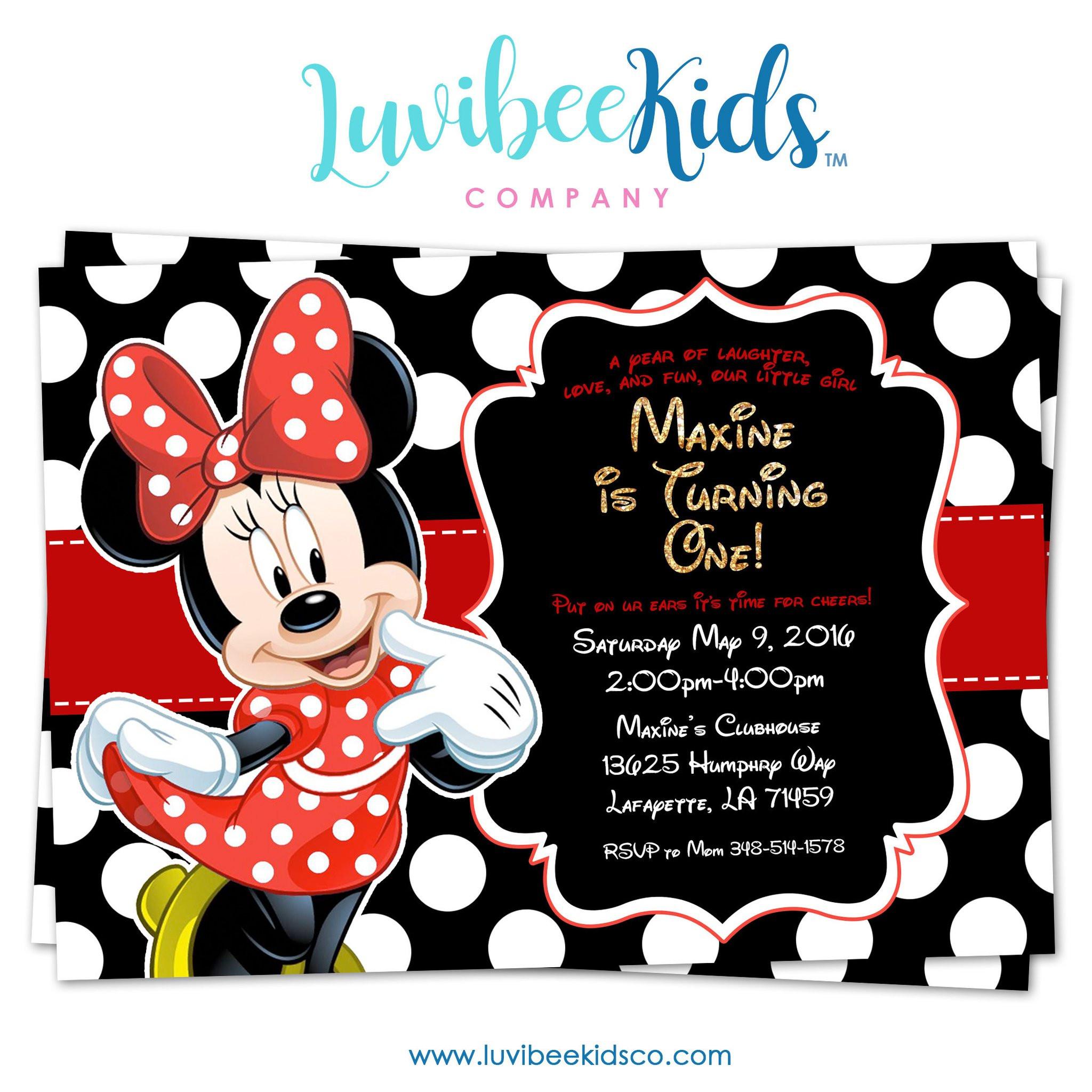 Minnie Birthday Invitations  Minnie Mouse Birthday Invitation Printable Invite