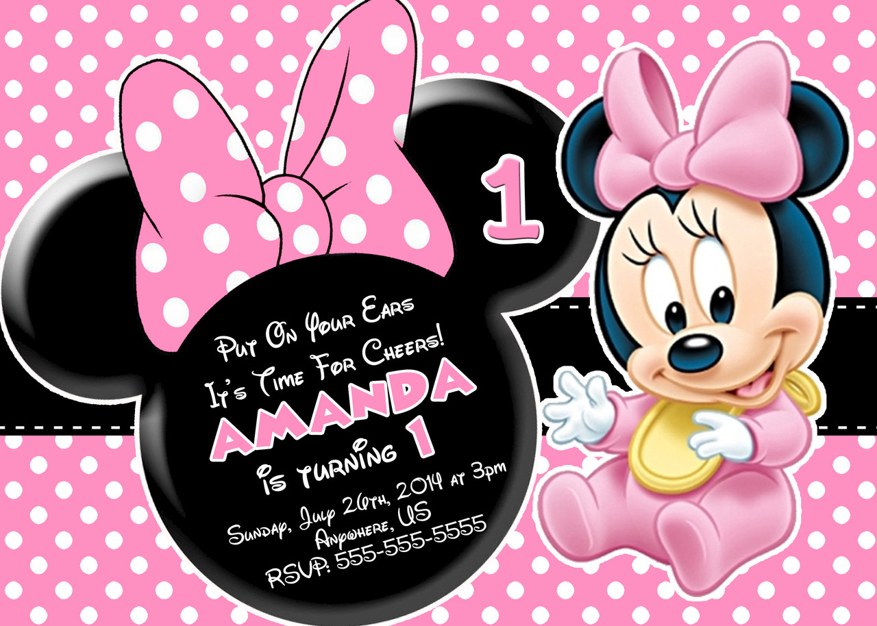 Minnie Birthday Invitations  Minnie Mouse First Birthday Invitations
