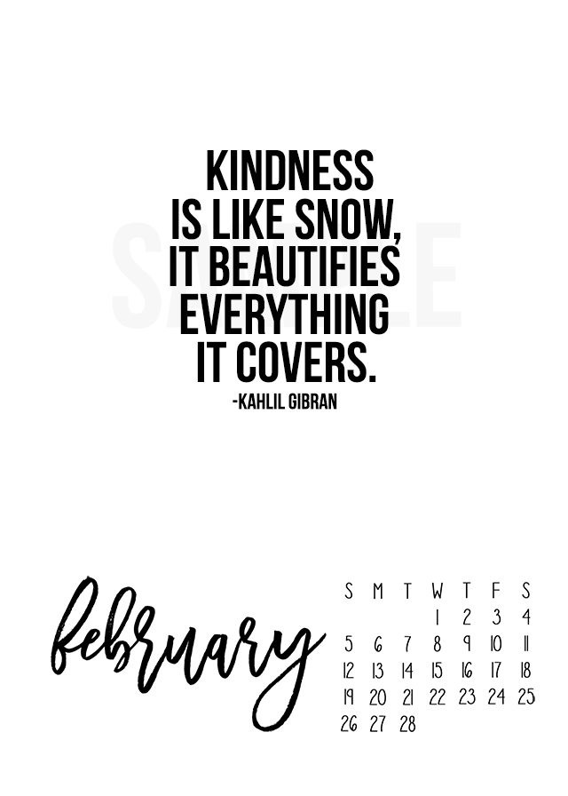 Motivational Quotes 2017  2017 February Calendar