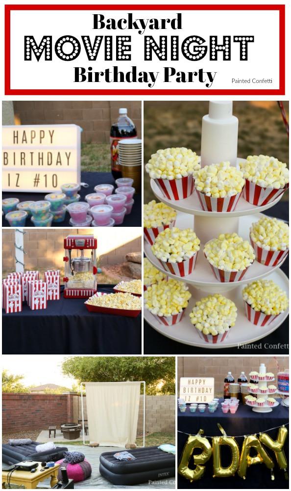 Movie Night Birthday Party  Backyard Movie Night Birthday Party Painted Confetti