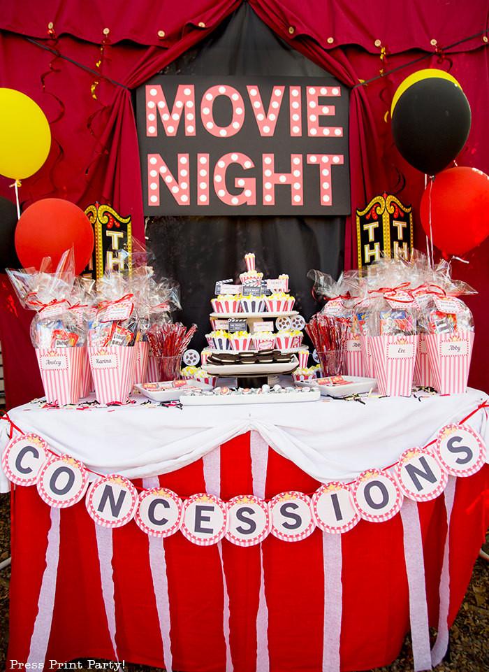 Movie Night Birthday Party  Perfect Backyard Movie Night Birthday Ideas Press Print