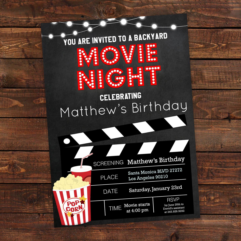 Movie Night Birthday Party  Printable Backyard Movie Night Party Invitation Movie Night