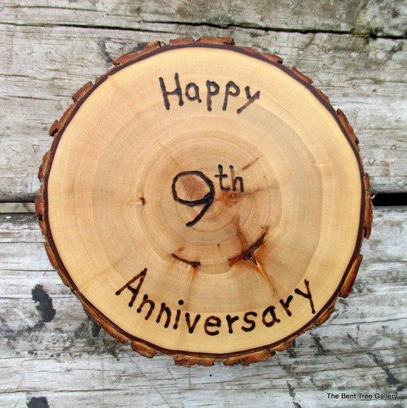 Ninth Anniversary Gift Ideas  9th Anniversary Gift Willow Medallion with Wood Burned