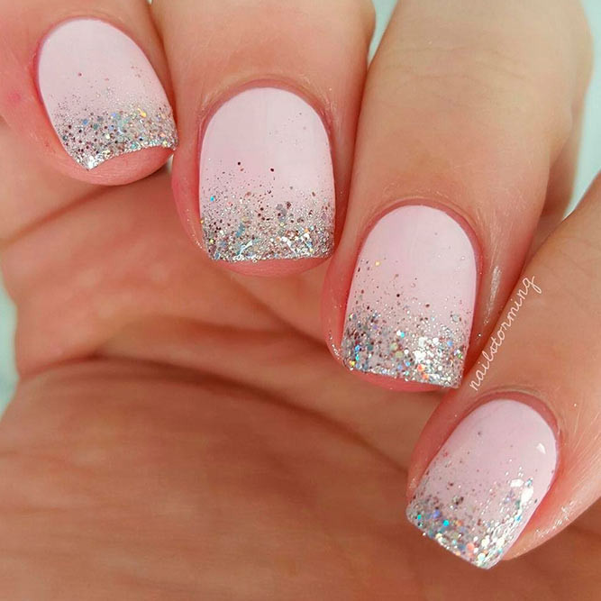 Ombre Nails With Glitter  21 Cute Ombre Nails Designs You Can Do