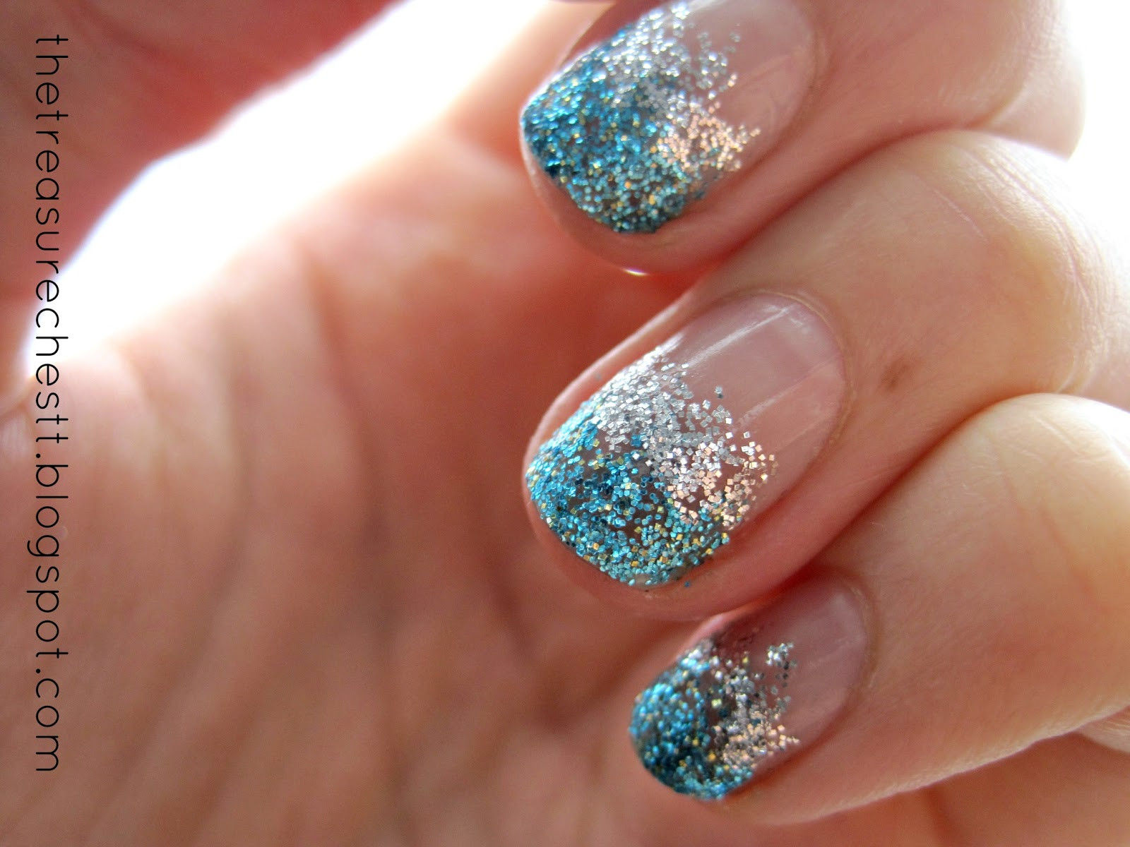 Ombre Nails With Glitter  The Treasure Chest Monday Blues Glitter Ombre Nails