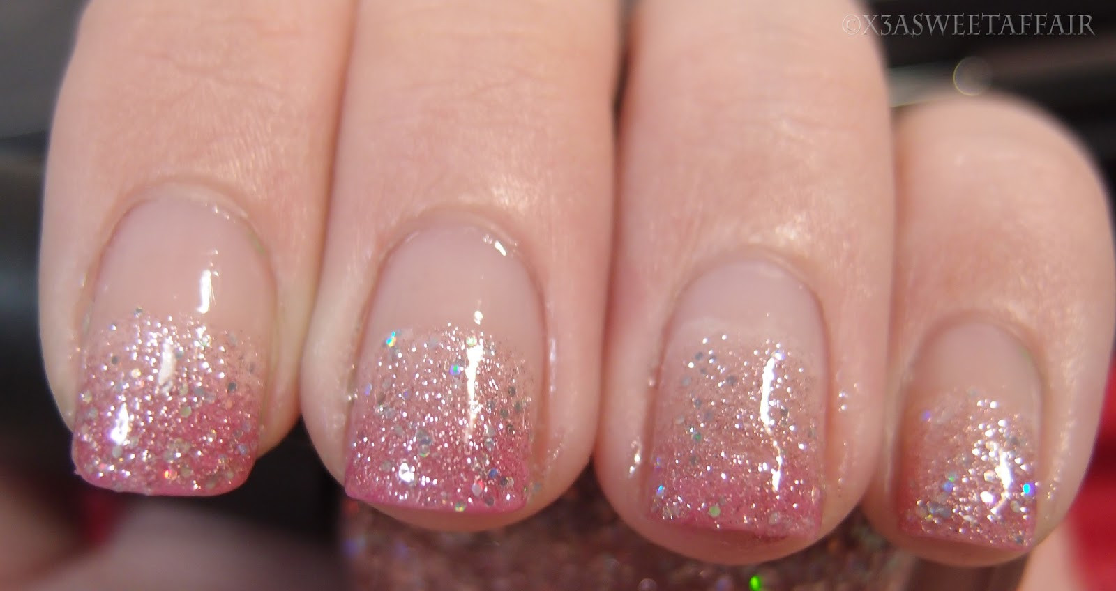 Ombre Nails With Glitter  x3ASweetAffair Naturally Nails Pink ombre glitter