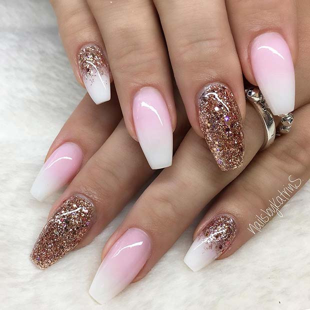 Ombre Nails With Glitter  41 of the Most Beautiful French Ombre Nails