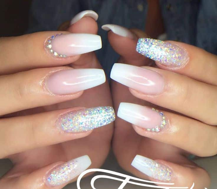 Ombre Nails With Glitter  20 Gra nt Glitter Ombre Nails to Add Glam – NailDesignCode