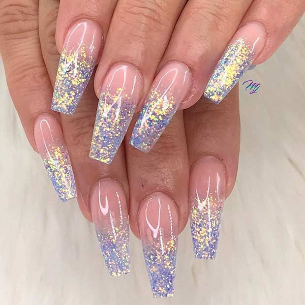 Ombre Nails With Glitter  23 Pretty Glitter Ombre Nails That Go With Everything