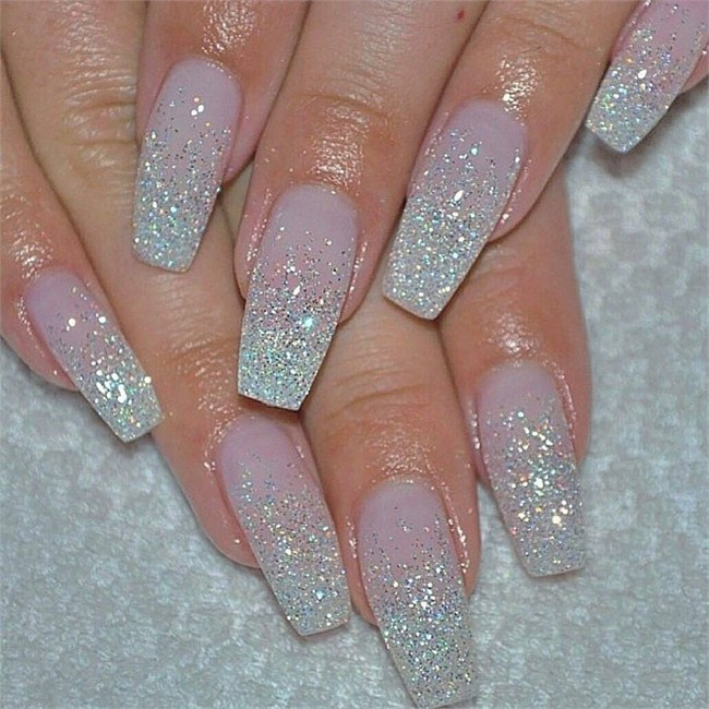 Ombre Nails With Glitter  25 Trendy Glamorous Ombre & Glitter Nail Designs – Fashonails