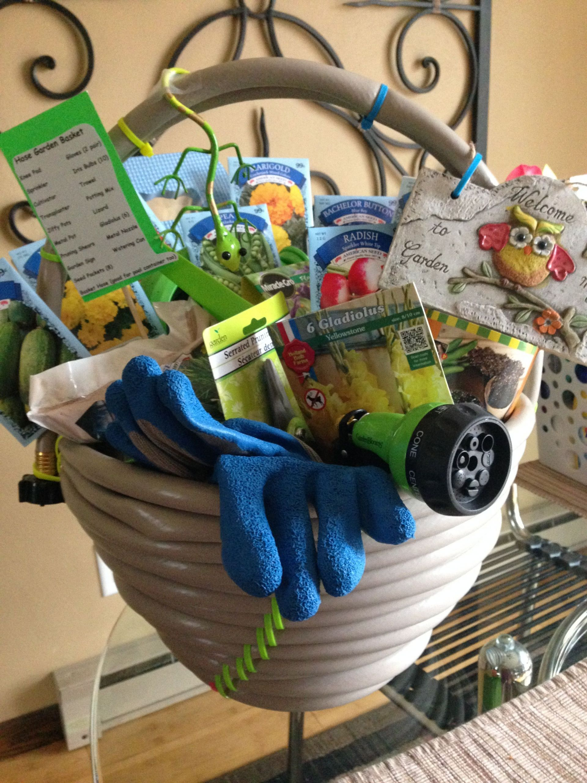 Outdoor Gift Basket Ideas  Garden hose basket For a fundraiser
