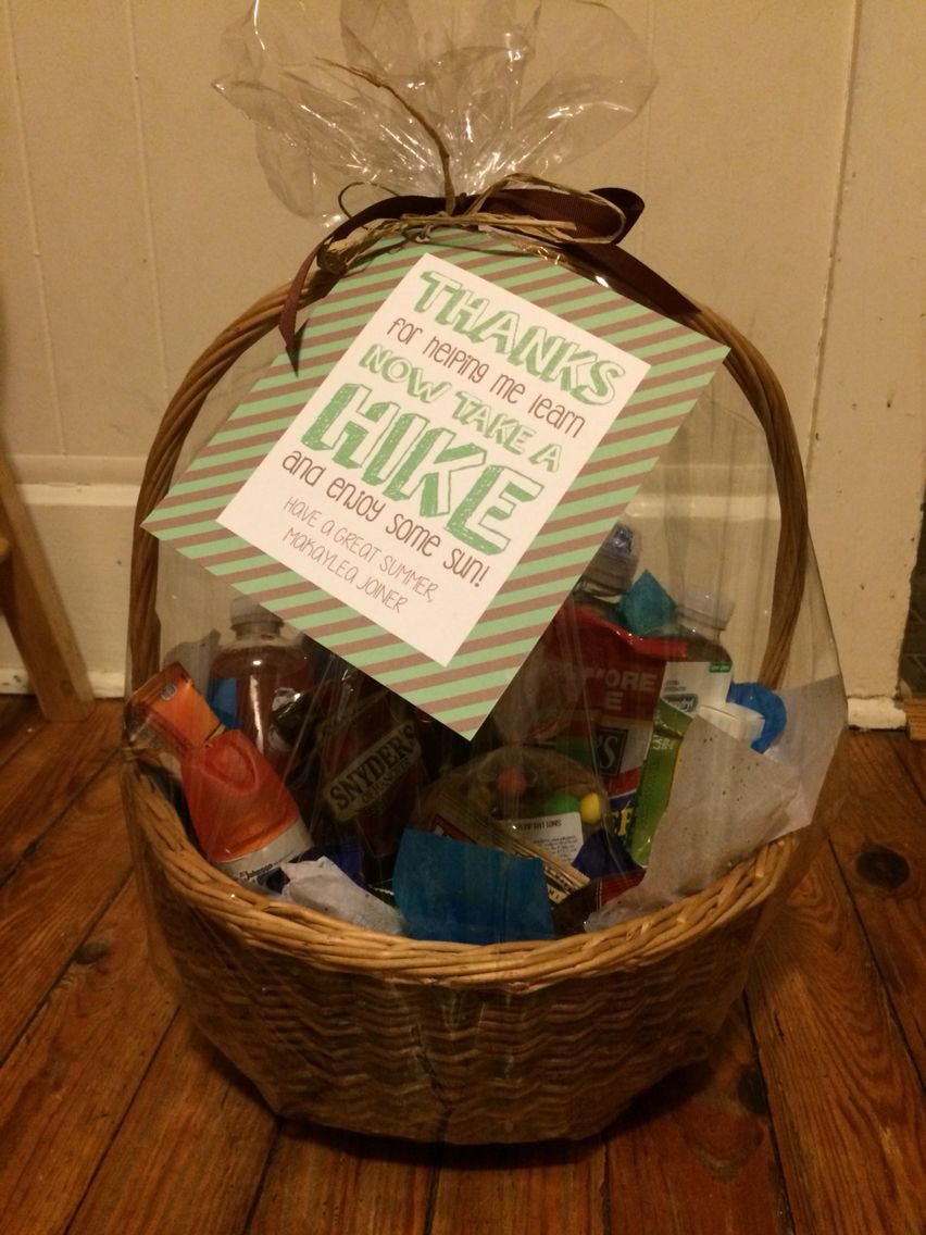 Outdoor Gift Basket Ideas  Teacher end of year t basket Outdoor Hiking themed