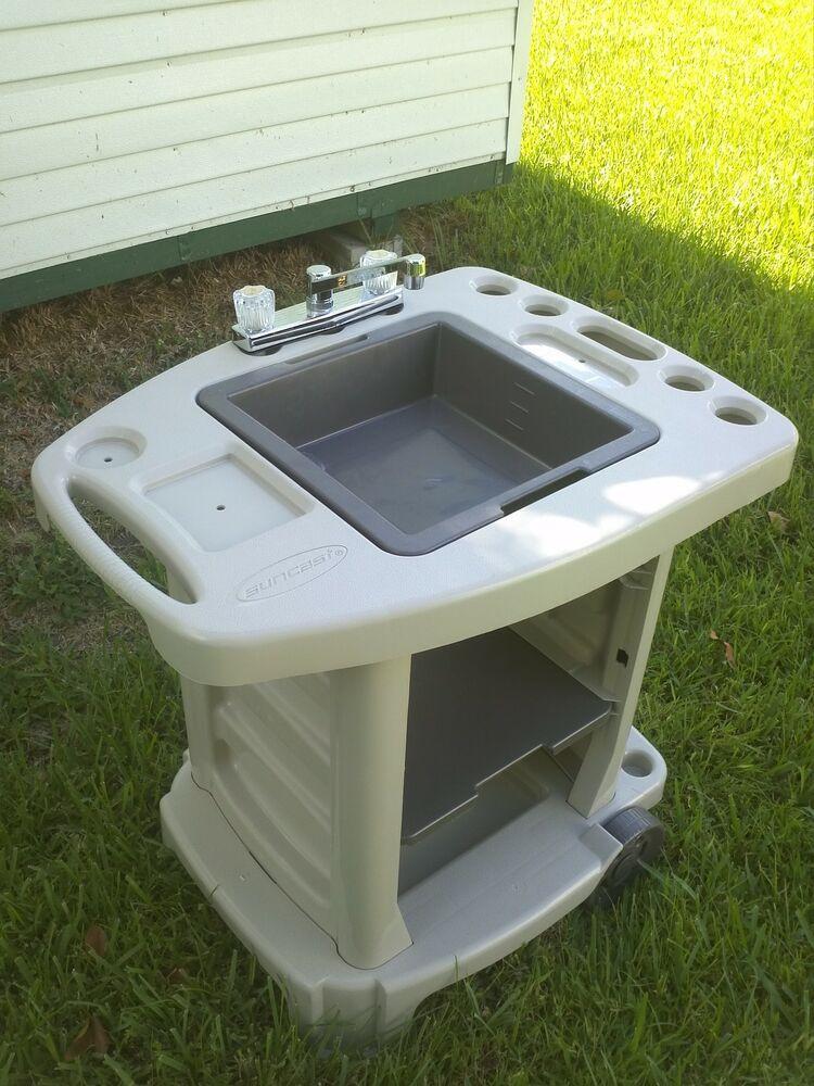 Outdoor Kitchen Sinks  Portable Outdoor Sink Garden Camp Kitchen Camping RV New