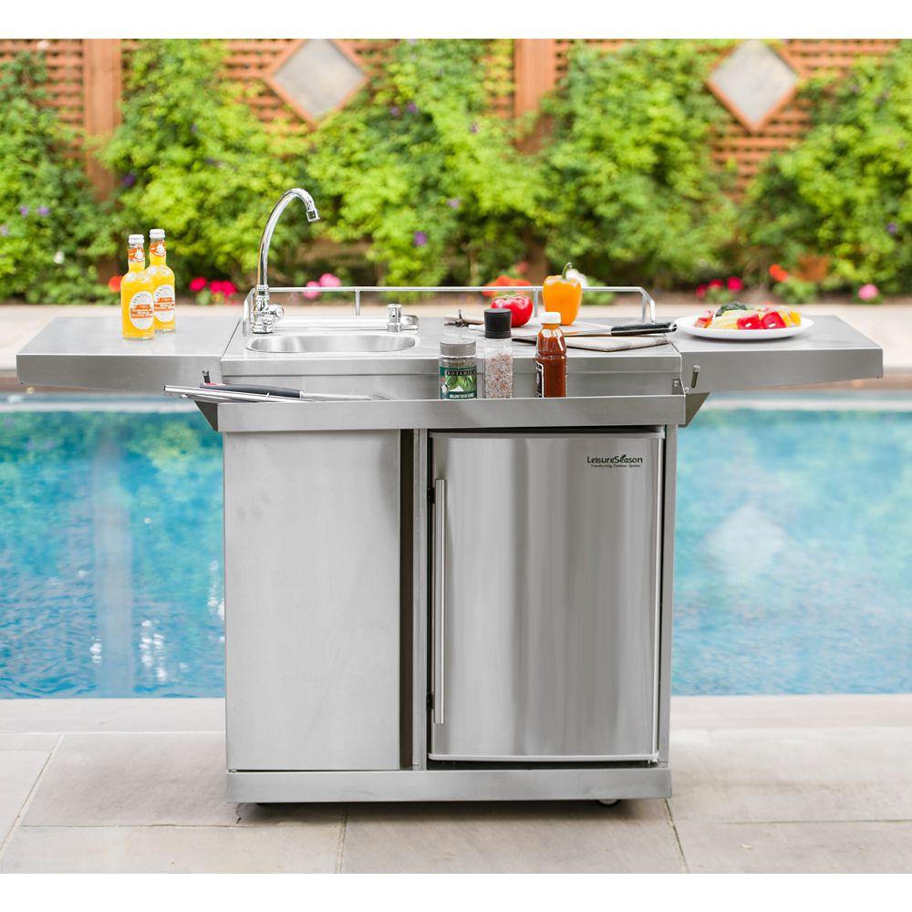 Outdoor Kitchen Sinks  Leisure Season Outdoor Kitchen Cart & Beverage Center With