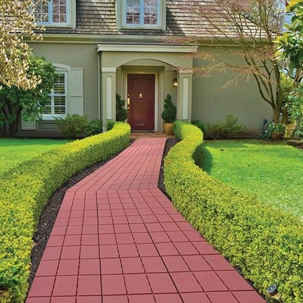 """Outdoor Landscape Pavers  Easy Install Faux Brick Patio Walkway Pavers 11 75"""" x 11"""