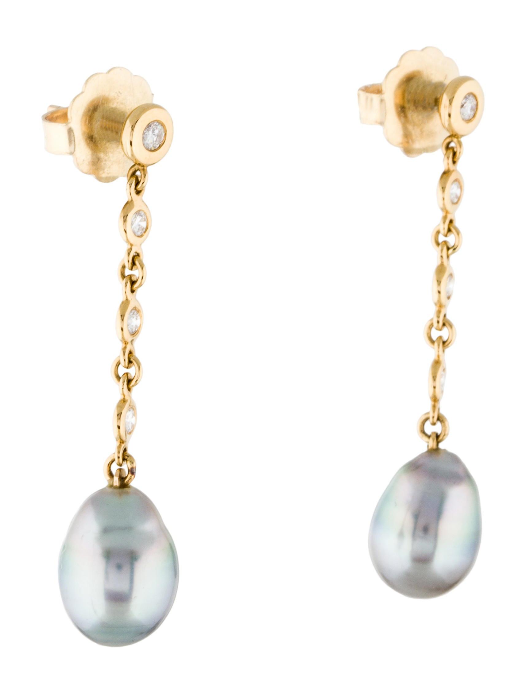 Pearl Drop Earrings  18K Diamond & Pearl Drop Earrings Earrings EARRI