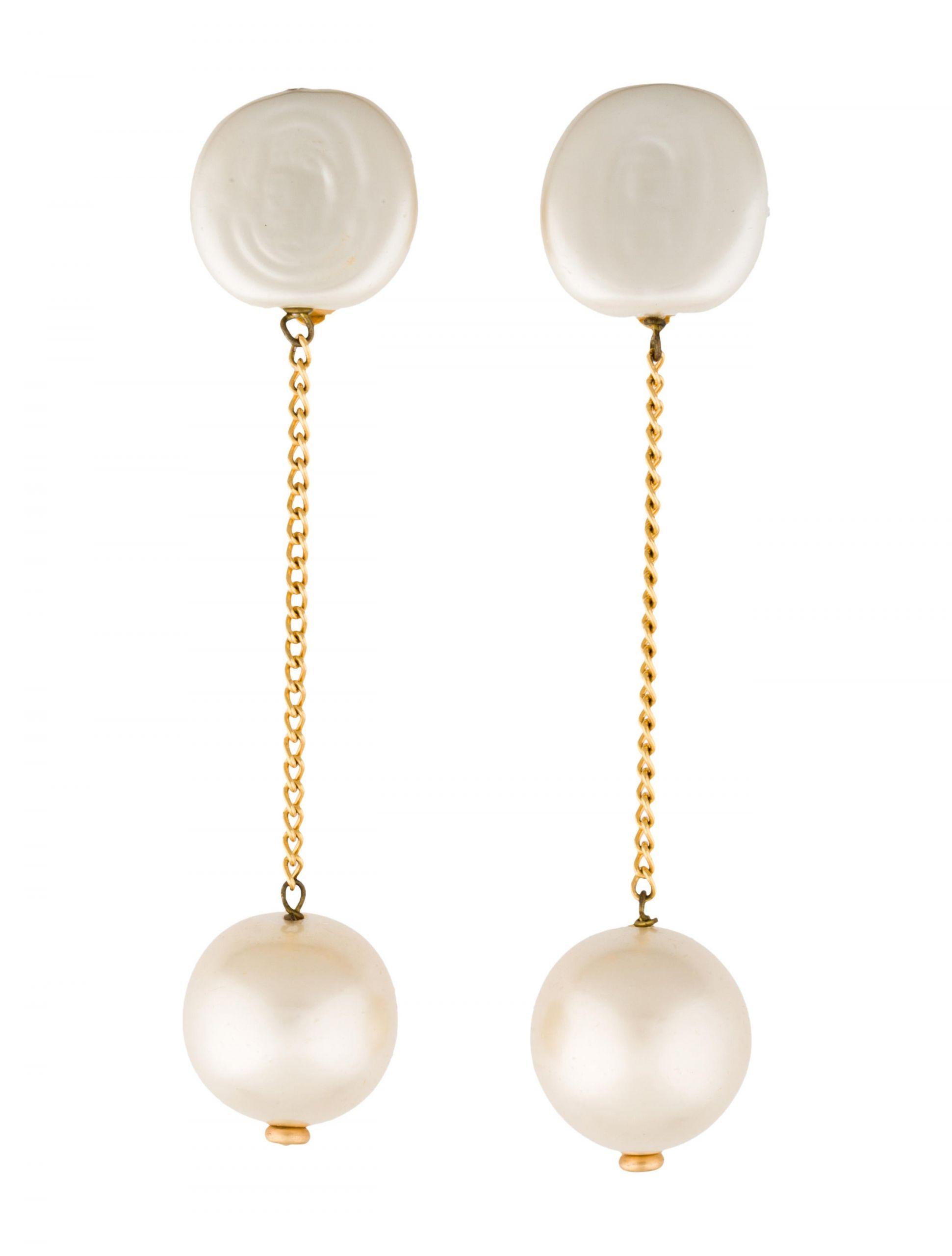 Pearl Drop Earrings  Chanel Faux Pearl Drop Earrings Earrings CHA